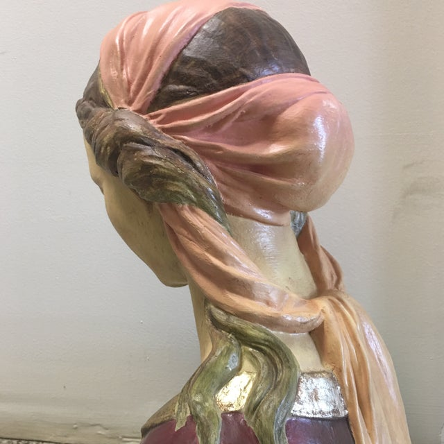 Hand Painted Paper Mache Female Bust For Sale - Image 5 of 11