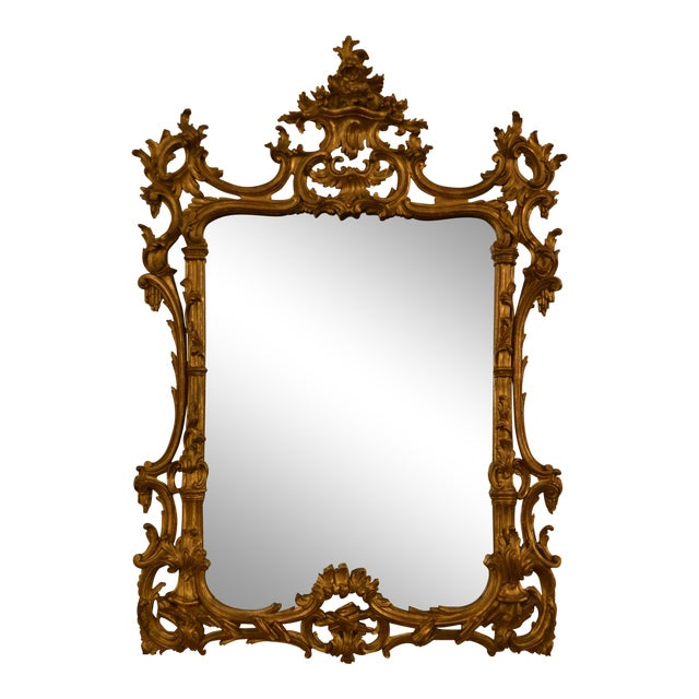 Antique French 19th Century Rococo Gold Leaf Mirror For Sale