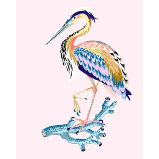 Contemporary Heron Giclée Print in Shell Pink For Sale