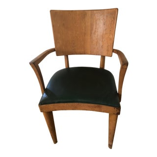Heywood Wakefield Dark Green Upholstered Birch Arm Chair For Sale