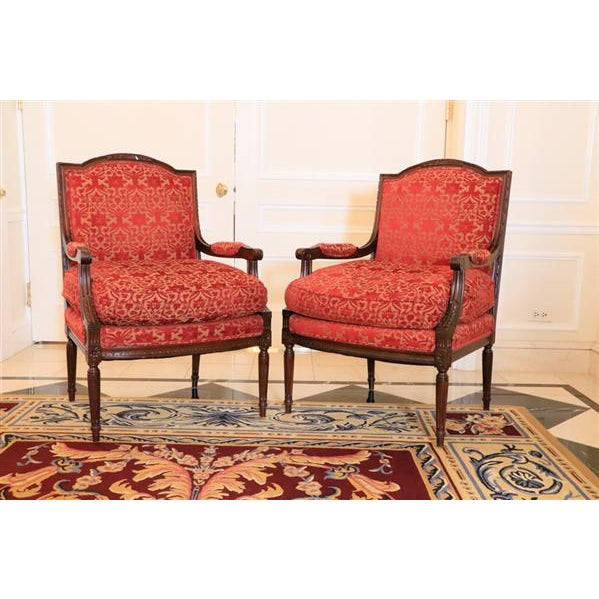 Lewis Mittman Fauteuil in Cream Velvet From Waldorf Astoria New York For Sale - Image 10 of 12