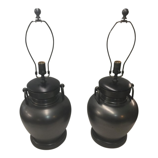 Pair of Pottery Barn Urn Form Bronze Finish Lamps For Sale