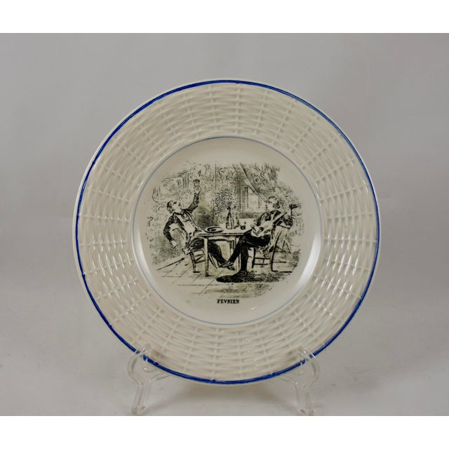 Digoin & Sarreguemines Digoin Sarreguemines French Transferware 'Mois De L'année' Plates, S/12 For Sale - Image 4 of 11