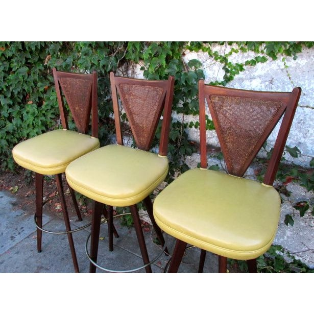 Mid-Century Modern Mid-Century Wicker Back Bar Stools - Set of 3 For Sale - Image 3 of 4