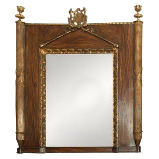 Early 19th Century French Carved Giltwood and Faux Bois Painted Mirror For Sale