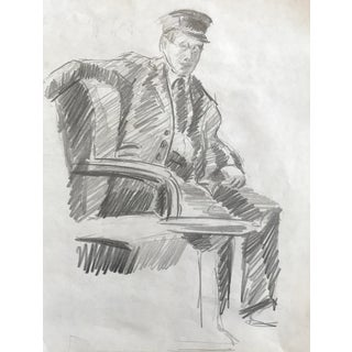 "Mid-Century ""Man in Uniform"" Drawing C. 1950 For Sale"
