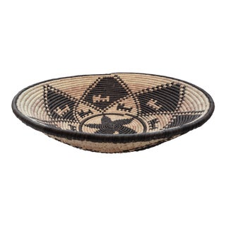 Large Woven Native Inspired Black & Tan Coil Basket