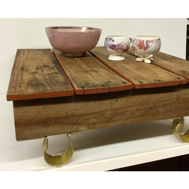 Boho Chic Low Reclaimed Hardwood Meditation Table For Sale - Image 10 of 13