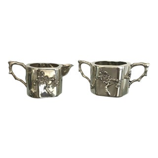 Chinese Export Sterling Silver Creamer and Sugar Luen Wo - A Pair For Sale