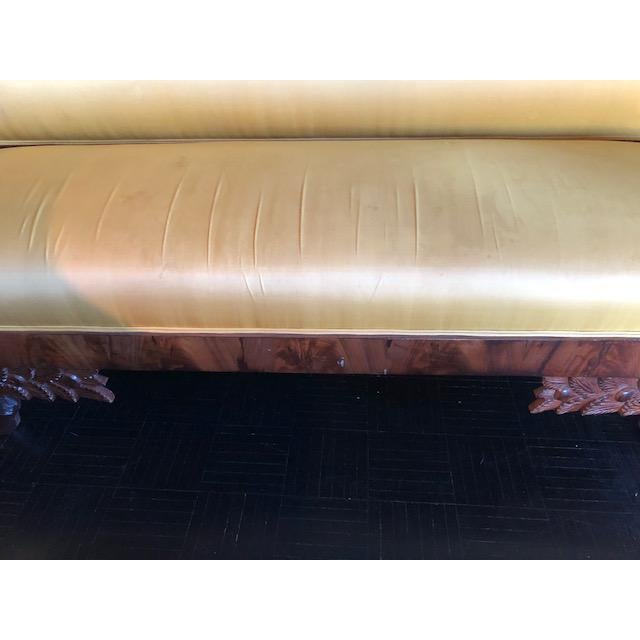 Yellow Silk Empire Settee For Sale - Image 9 of 12
