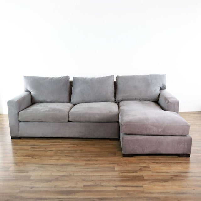 Crate & Barrel Gray Upholstered Sectional Sofa For Sale - Image 9 of 9