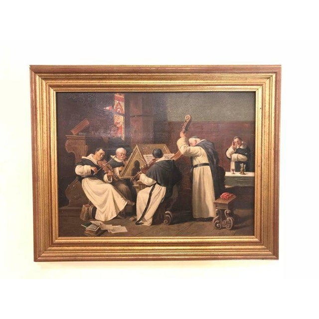 A Late 19th Early 20th Century Oil Painting Of A Group Of Monks On Board For Sale - Image 11 of 12