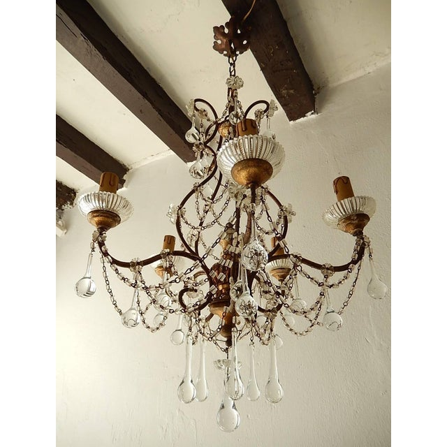 Gold French Baroque Crystal Prisms Swags Old Chandelier For Sale - Image 8 of 11