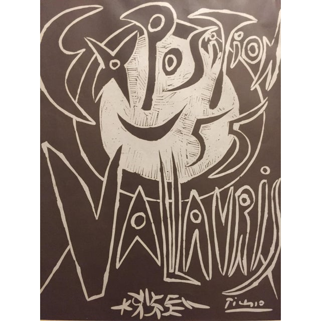 """Pablo Picasso (1881-1973) Exposition 1955 Vallauris Unknown Linocut on brown paper Image size 14""""x17 1/2"""" paper size 15..."""