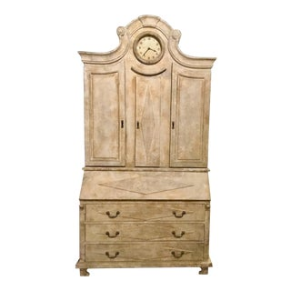 French Country Style Aged White Secretary With Clock For Sale