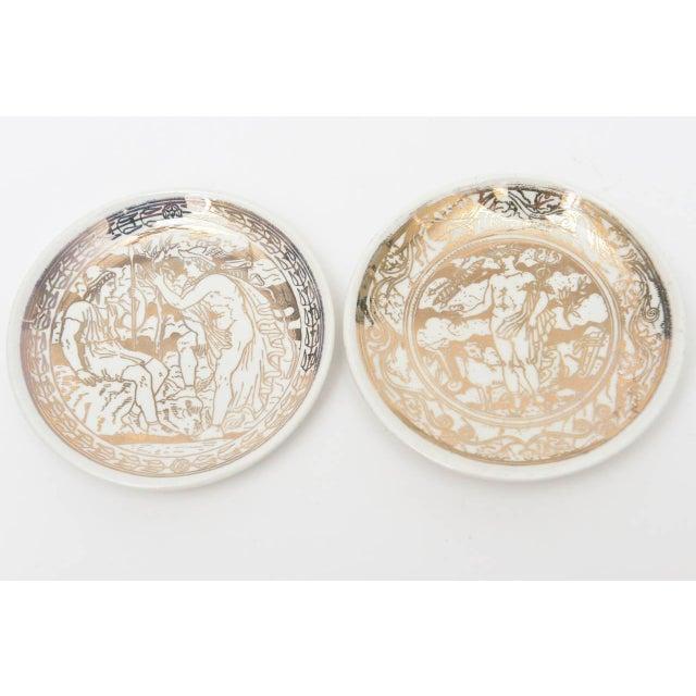 "Piero Fornasetti Complete Set of Eight Italian Fornasetti Gilded Porcelain ""Mitologia"" Coasters For Sale - Image 4 of 10"