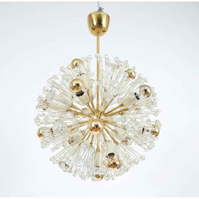 Mid-Century Modern Pair of Emil Stejnar Starburst Brass and Glass Chandeliers For Sale - Image 3 of 5