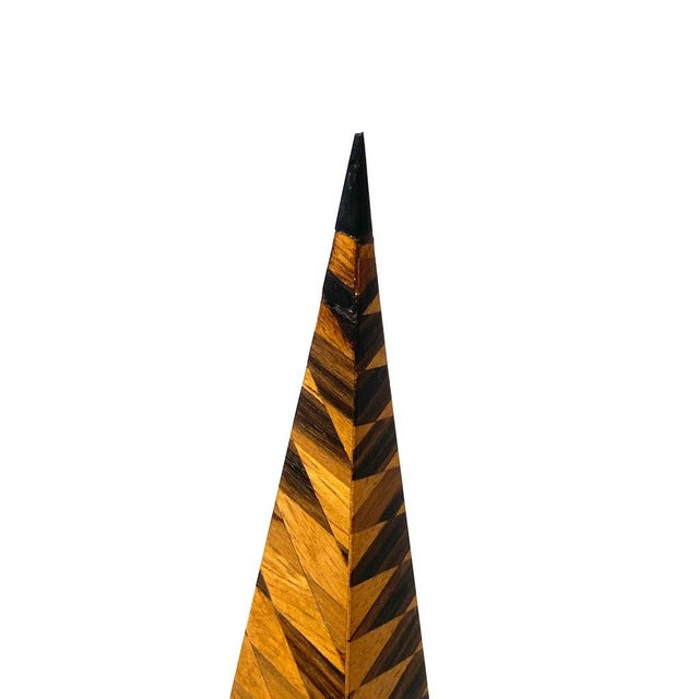 Vintage Parquetry Wood Obelisks - Set of 2 For Sale - Image 11 of 13