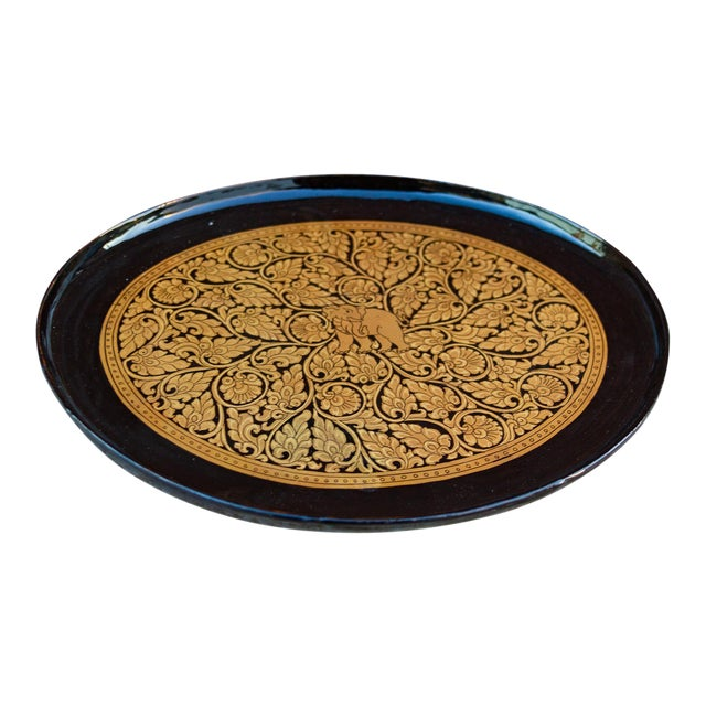 Gilt and Black Painted Tray For Sale