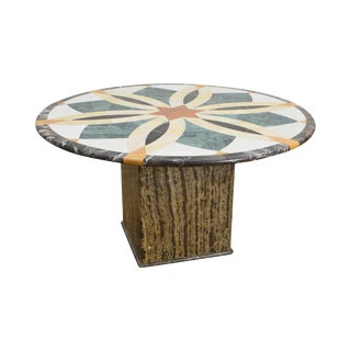 Mosaic Inlaid Marble Round Pedestal Dining Center Table For Sale