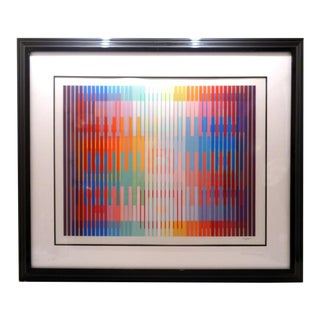 Yaacov Agam (B.1928) Large Op Art Serigraph For Sale