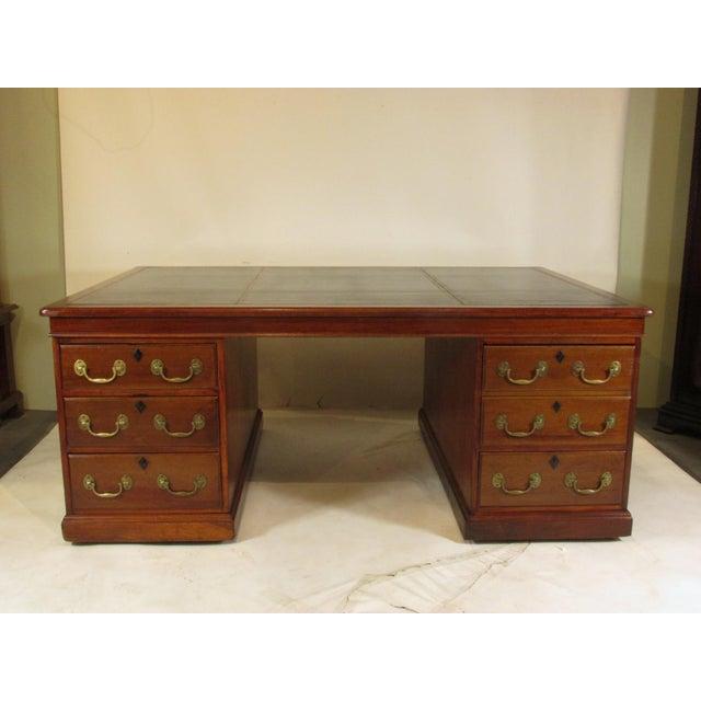 1900s Edwardian Partners Desk For Sale - Image 4 of 13