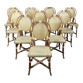 Set of 10 Mid-Century Rattan Faux Bamboo Chairs For Sale