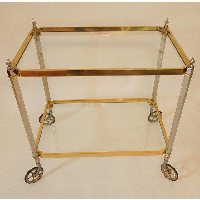 Gold 1960s Vintage Italian Brass Nickel & Glass Bar Cart For Sale - Image 8 of 8