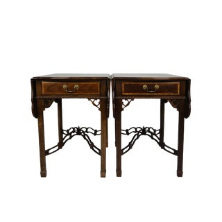 Chinoiserie Sherrill Cth Occasional Pembroke Drop Leaf Tables - a Pair For Sale