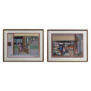 Pair of Chinese Export Watercolors of Clock Shop and Produce Market For Sale