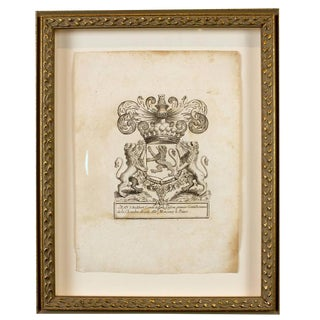 18th C. French Coat of Arms Etching For Sale