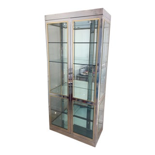 Mastercraft Brass & Chrome Vitrine Illuminated Display Cabinets - a Pair
