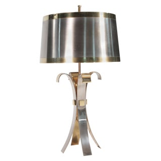 French Hollywood Regency Maison Charles Brass Corolle Lamp, 1970s For Sale