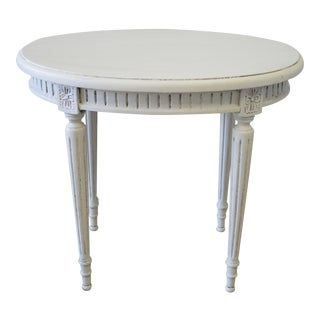 20th Century Carved and Painted Louis XVI Style Oval Side Table