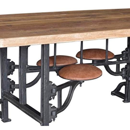 Reclaimed wood and iron dining table with connected leather top stools that swivel in and out with ease. A great rustic,...