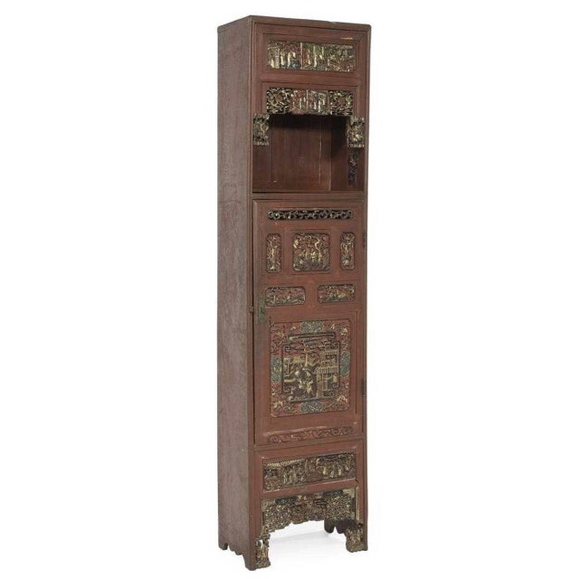 Early 20th Century Chinese Carved, Painted, and Gilt Decorated Cabinet For Sale - Image 5 of 5