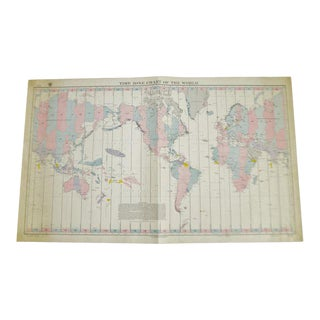 1940 Time Zone Chart of the World No. 5192 12th Edition For Sale