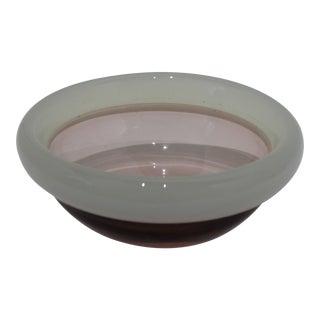 Murano 1970's Glass Bowl Opaline Violet Base Light Green Ring by Seguso Arte d'Vetri For Sale