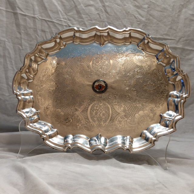Vintage English Equestrian Silver Plated Serving Platter with Feet - Image 2 of 10