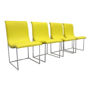 Set of 4 Mid-Century Modern Milo Baughman Thayer Coggin Scoop Chrome Dining Chairs For Sale