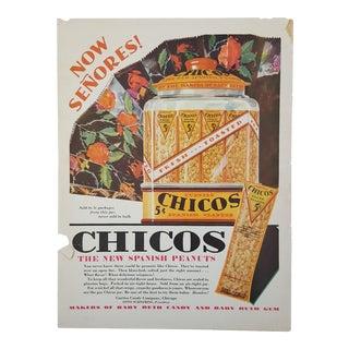 1920s Vintage Spanish Peanuts Advertisement Art Print For Sale
