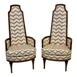 Vintage Mid Century Tall Back Armchair - Pair For Sale