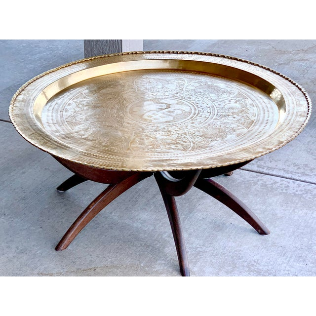 1950s Vintage Chinese Imports Polished Brass Spider Leg Tray Table For Sale In Phoenix - Image 6 of 11