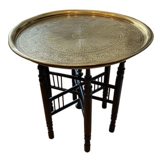 Early 19th Century Collapsable Brass Tone Top Table For Sale