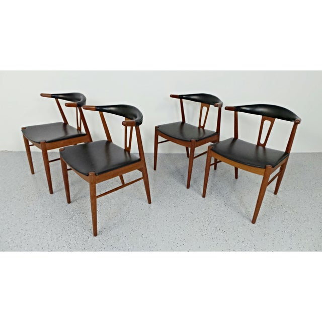 Hans Wegner Style Teak Leather Dining Chairs - 4 - Image 2 of 10