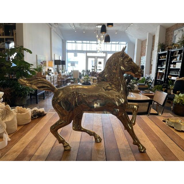 Vintage Brass Horse For Sale - Image 9 of 9