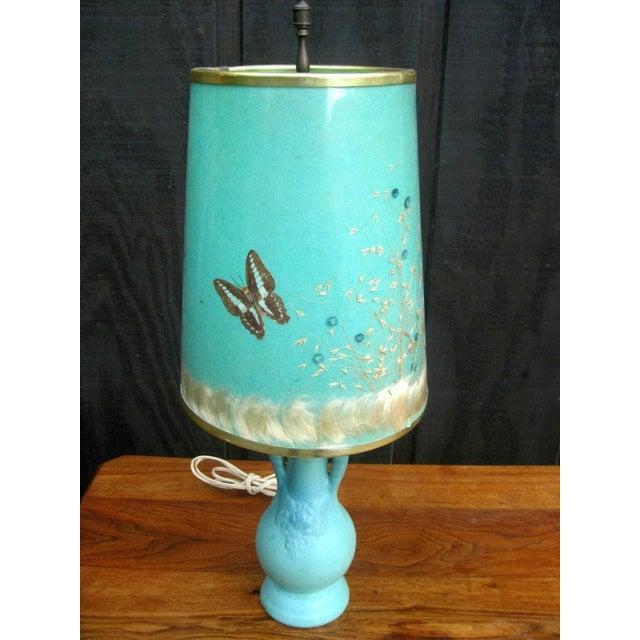 Van Briggle Turquoise Butterfly Lamp - Image 2 of 8