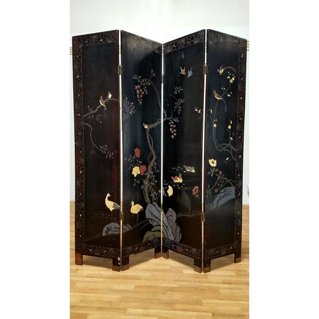 1980s 1980s Japanese 4-Panel Room Divider For Sale - Image 5 of 7