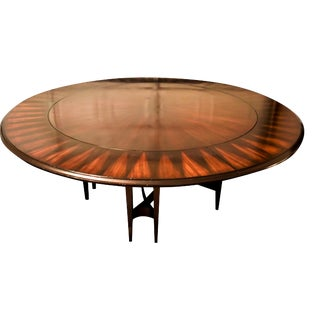 "Art Deco Styled Mahogany ""Solar Flare"" Inlaid Round Dining Table For Sale"