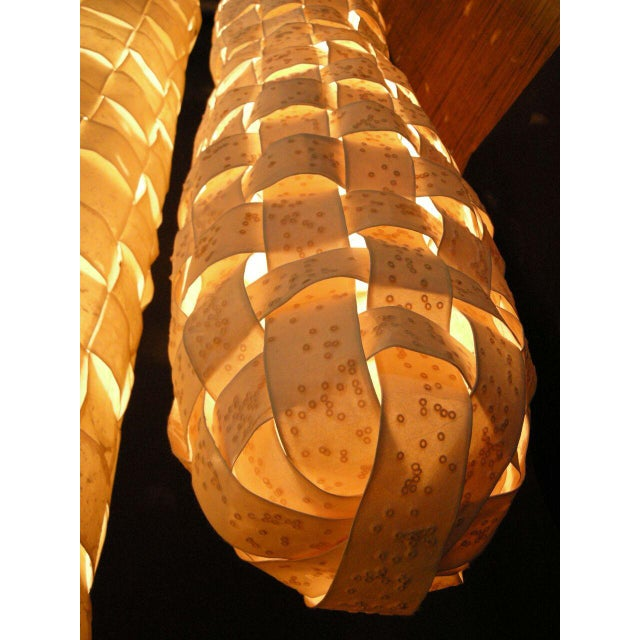 Large Hanging Tube/Cocoon Like Handwoven Paper Lights For Sale - Image 9 of 9